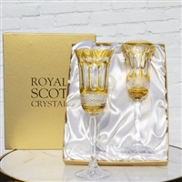 Pair Belgravia Lime Green Champagne Flutes by Royal Scot Crystal