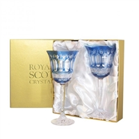 Pair Belgravia Sapphire Blue Large Wine Glasses by Royal Scot Crystal