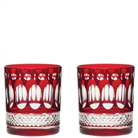 Pair Belgravia Ruby Red Whisky Tumblers Glasses by Royal Scot Crystal