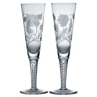 Pair of Jacobean Crystal Air Twist Champagne Flutes, Jacobite Design by Royal Scot Crystal