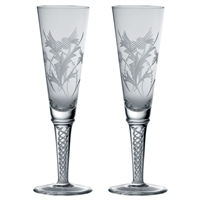 Pair of Jacobean Crystal Air Twist Champagne Flutes, Flower of Scotland Design by Royal Scot Crystal