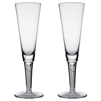 Pair of Jacobean Crystal Air Twist Champagne Flutes, by Royal Scot Crystal