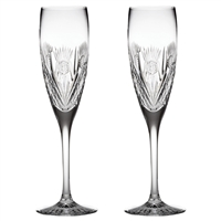 Pair Crystal Scottish Thistle Champagne Flutes by Royal Scot Crystal