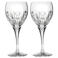 Pair Crystal Scottish Thistle Large Wine Glasses by Royal Scot Crystal