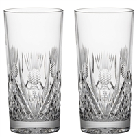 Pair Crystal Scottish Thistle Tall Tumbler Glasses by Royal Scot Crystal