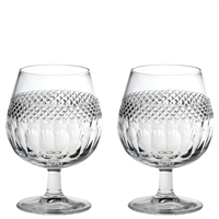 Pair Crystal Diamonds Design Brandy Glasses by Royal Scot Crystal