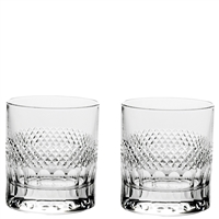 Pair Crystal Diamonds Design Large Whisky Tumblers by Royal Scot Crystal
