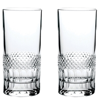 Pair Crystal Diamonds Design Tall Tumbler Glasses by Royal Scot Crystal