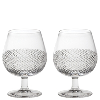 Pair Crystal Tiara Pattern Brandy Glasses by Royal Scot Crystal