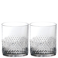 Pair Crystal Tiara Pattern Large Whisky Tumblers by Royal Scot Crystal