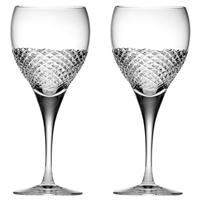Pair Crystal Tiara Pattern Large Wine Glasses by Royal Scot Crystal