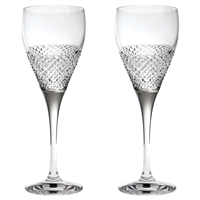 Pair Crystal Tiara Pattern Port or Sherry Glasses by Royal Scot Crystal