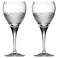 Pair Crystal Tiara Pattern Small Wine Glasses by Royal Scot Crystal
