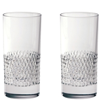 Pair Crystal Tiara Pattern Tall Tumblers Glasses by Royal Scot Crystal
