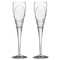 Pair Crystal Saturn Design Champagne Flutes by Royal Scot Crystal