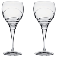 Pair Crystal Saturn Design Small White Wine Glasses by Royal Scot Crystal