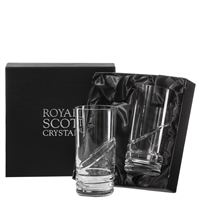 Pair Crystal Saturn Design Tall Water Tumbler Glasses in Presentation Box by Royal Scot Crystal