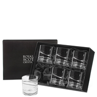Boxed Set of Six Crystal Saturn Design Whisky or Spirit Tumblers in Presentation Box by Royal Scot Crystal