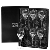 Boxed Set of Six Crystal Saturn Design Small Wine Glasses in Presentation Box by Royal Scot Crystal