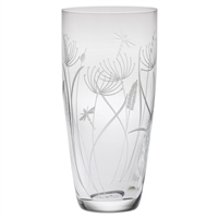 Crystal Dragonfly Design Tall Barrel Vase by Royal Scot Crystal