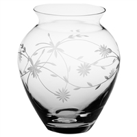 Crystal Daisy Design Large Posy Vase by Royal Scot Crystal