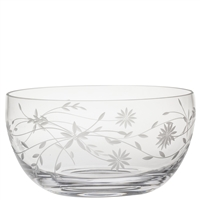 Crystal Daisy Design Large Fruit or Salad Bowl by Royal Scot Crystal