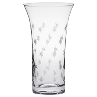 Crystal Starburst Design Large Flared Trumpet Vase by Royal Scot Crystal