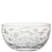 Crystal Meadow Flowers Design Large Fruit or Salad Bowl by Royal Scot Crystal