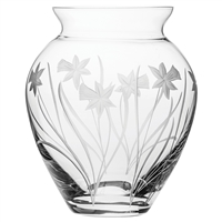 Crystal Daffodils Design Large Posy Vase by Royal Scot Crystal