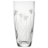 Crystal Daffodils Design Tall Barrel Vase by Royal Scot Crystal