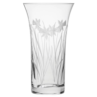 Crystal Daffodils Design Large Flared, Trumpet Style Vase by Royal Scot Crystal