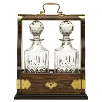 Solid Oak Double Tantalus with Westminster Pattern Crystal Decanters by Royal Scot Crystal