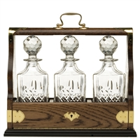 Solid Oak Triple Tantalus with Westminster Pattern Crystal Decanters by Royal Scot Crystal