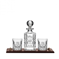 Solid Oak Bar Tray with Kintyre Spirit Decanter and Glasses by Royal Scot Crystal