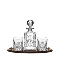 Solid Oak Club Tray with Westminster Spirit Decanter and Four Glasses by Royal Scot Crystal