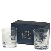 Pair Flower of Scotland Thistle Crystal Tot or Dram Glasses by Royal Scot Crystal
