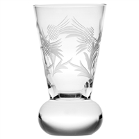 Single Flower of Scotland Thistle Shaped Crystal Tot or Dram Glass by Royal Scot Crystal