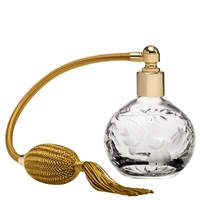 Crystal Perfume Bottle, Annabel Design with Gold Atomiser by Royal Scot Crystal
