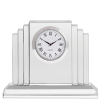 Art Deco Crystal Quartz Clock by Royal Scot Crystal