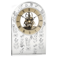 Hand Cut Crystal Quartz Mantle Clock with Meadow Flowers by Royal Scot Crystal