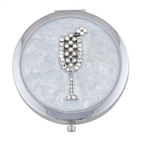Compact Mirror with White Enamel and Swarovski Crystal Champagne Flute