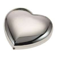 Silver Plated Love Heart Compact Mirror with Normal and Magnified Mirror