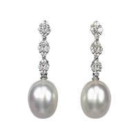 18ct White Gold Diamond and Cultured Freshwater Pearl Drop Earrings