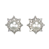 18ct White Gold Diamond and Cultured Akoya Pearl Cluster Earrings