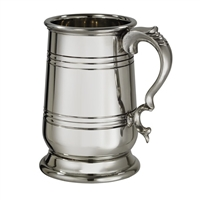 English Pewter Pint 'Howard' Tankard with Engraving and Wooden Presentation Box