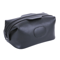 Gent's Leather Single Pocket Black Wash Bag