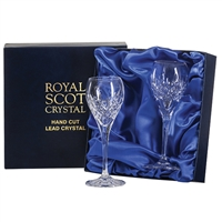 Pair London Design Port or Sherry Glasses by Royal Scot Crystal