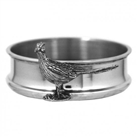 English Pewter & Wood Bottle Coaster with Pheasant Motif