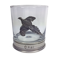 11oz Whisky Tumbler with English Pewter Pheasant Motif