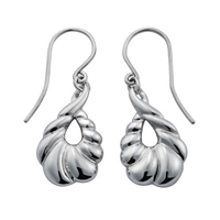 Sterling Silver 'Palm' Design Drop Earrings by Comyns of London